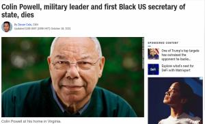 美国首位黑人国务卿科林·鲍威尔因新冠并发症去世