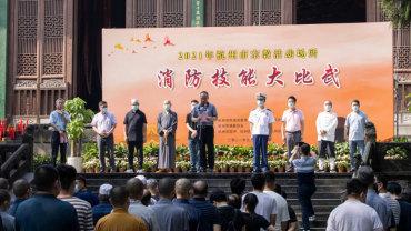 杭州宗教活动场所消防技能大比武在灵隐寺举办