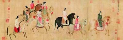 唐代张萱《虢国夫人游春图》(宋代摹本),现藏于辽宁省博物馆。
