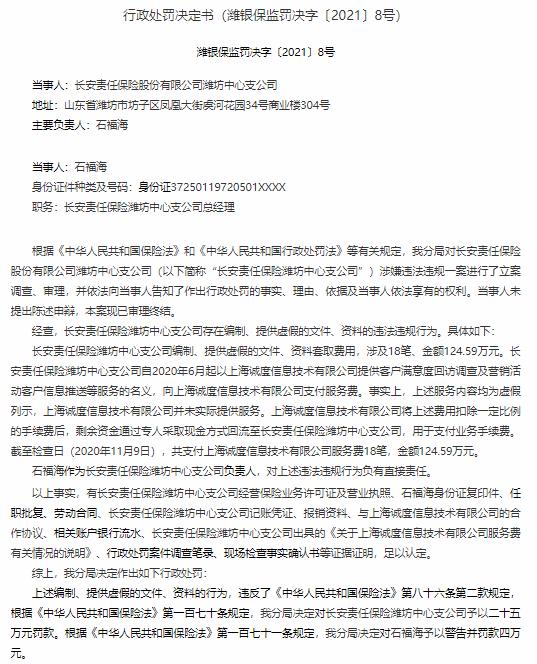 造假套取费用,长安责任保险潍坊中心支公司被罚25万元