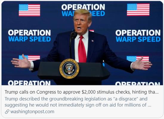 特朗普呼吁国会同意直接支付民众2000美元。/《华盛顿邮报》报道截图