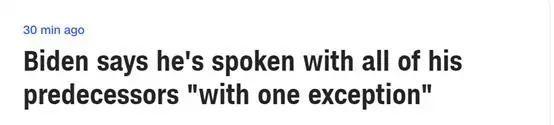 拜登已与所有美国前总统通过话但有一个例外!吐槽:我厌倦了谈论特朗普
