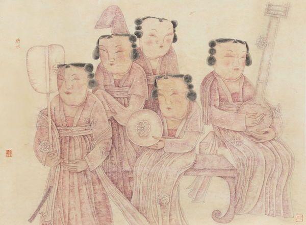 张译丹 乐舞侍女写生 纸本设色 80cm×110cm 2020年