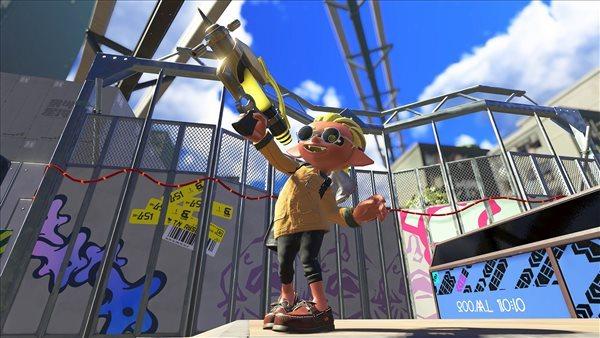 Switch《喷射战士3》截图 老街区场景与螃蟹坦克
