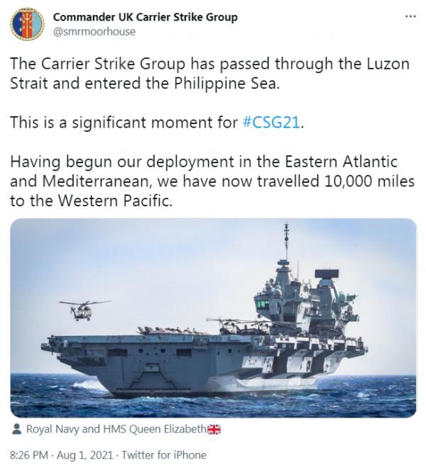 航母指挥官史蒂夫·穆尔豪斯的推特截图