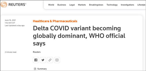 世卫:印度发现的Delta已扩散至80国,持续突变