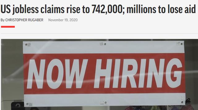 11月新增病例已超300万!美国疫情救助计划仍未出台