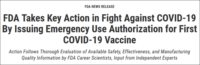 辉瑞新冠疫苗在美国获批紧急使用申请