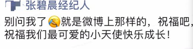 张碧晨经纪人朋友圈曝光:祝小天使快乐成长