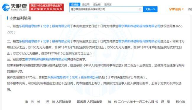 乐视网被判向柠萌影视付3655万《择天记》授权费