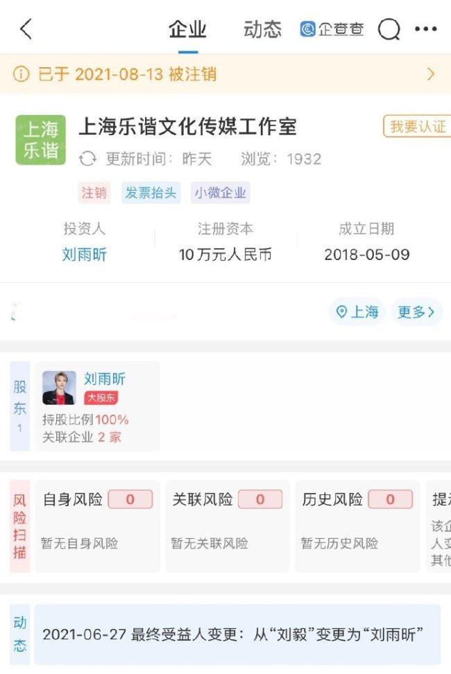 刘雨昕传媒工作室注销 由个人全资持股