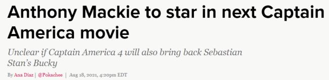 安东尼·麦凯确认签约《美队4》成新一任美国队长