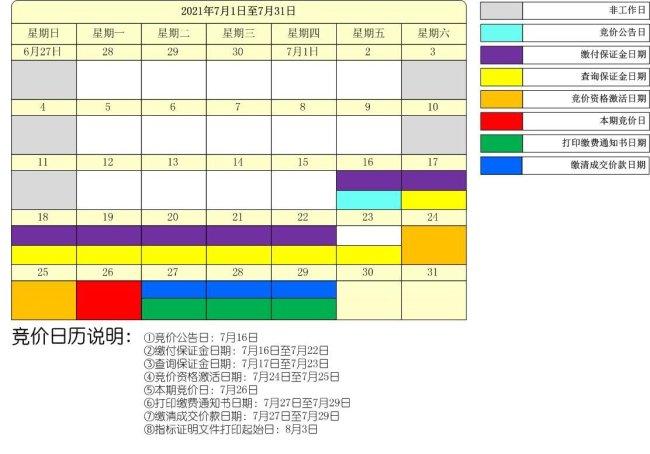 深圳市2021年第7期普通小汽车增量指标竞价日历图