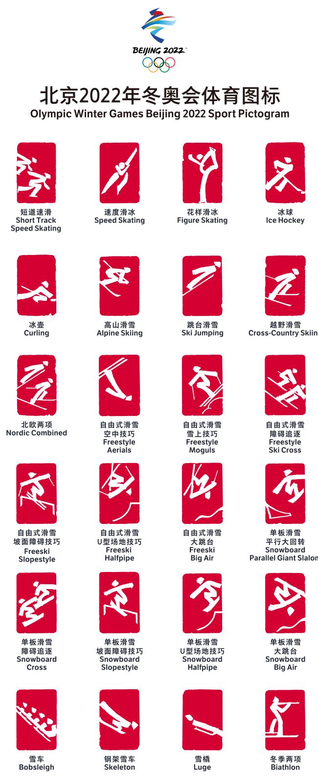 北京2022年冬奥会和冬残奥会30个体育图标发布