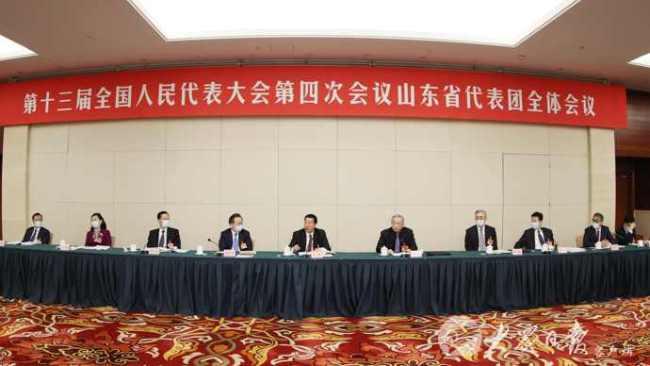 """山东代表团举行全体会议,审查""""十四五""""规划和2035年远景目标纲要草案"""