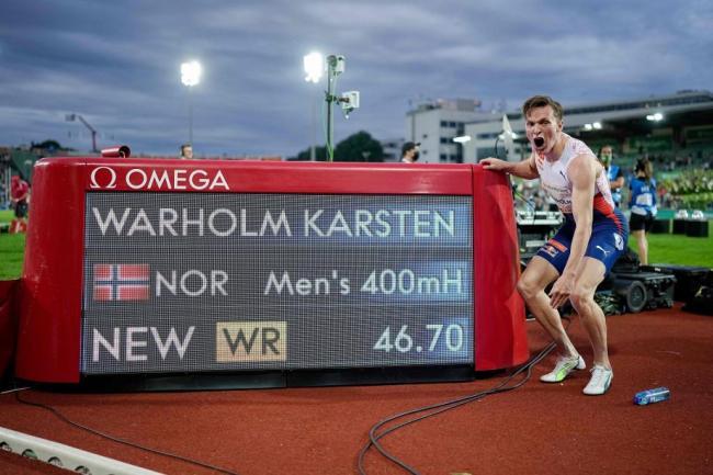 [图]46秒70! 挪威选手打破男子400米栏世界纪录