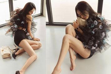 34岁杨幂黑色轻纱裙勾勒曼妙身姿
